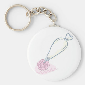 Pink Rose and Pastry Bag Keychain