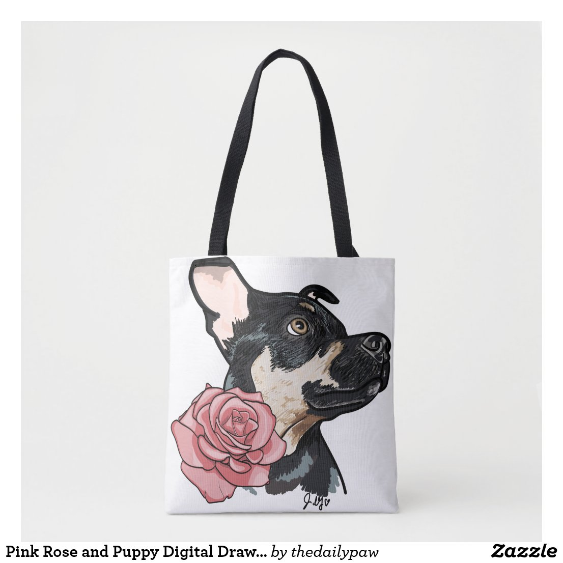 Pink Rose and Puppy Digital Drawing Tote Bag