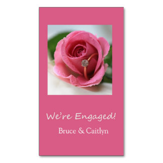 pink rose and rings engagement announcement business card magnet