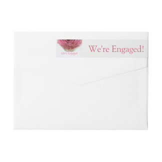 pink rose and rings engagement announcement wraparound return address label