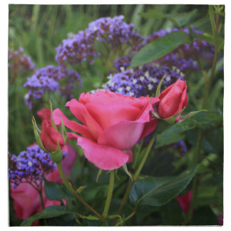 Pink rose and statice in garden cloth napkin