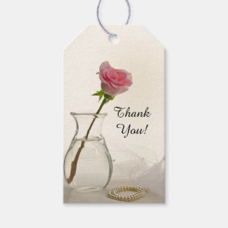 Pink Rose and White Pearls Wedding Favor Tags
