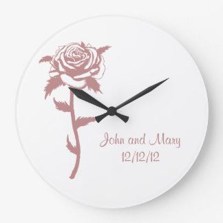 Pink Rose Anniversary or Wedding Date Customizable Large Clock