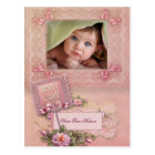 Pink Rose Baby Girl Photo Birth Postcards