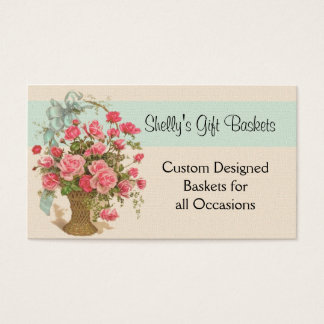 Pink Rose Basket All Purpose Business Card