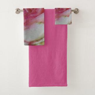 pink rose bath towel set