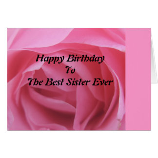 Pink Rose Best Sister Birthday GreetingCard Card
