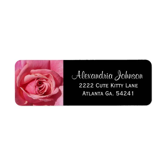 Pink Rose:  Black Avery Return Address Labels