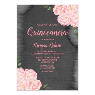 Pink Rose Black Paint Splash Quinceanera Invite
