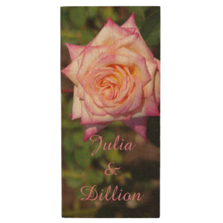 Pink Rose Bloom Wood USB 2.0 Flash Drive