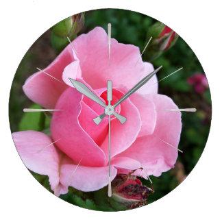 pink rose blooming large clock