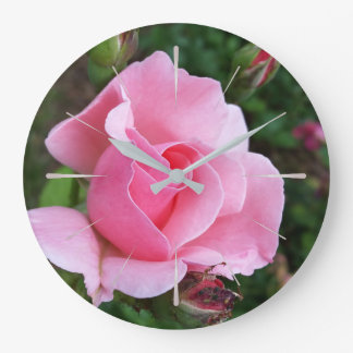 pink rose blooming wall clock