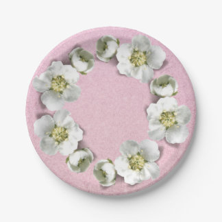 Pink Rose Blush Floral Wreath Wedding Glitter Paper Plate