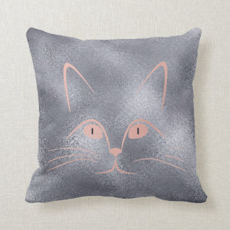 Pink Rose Blush Glam Cat Glass Metallic Gray Throw Pillow
