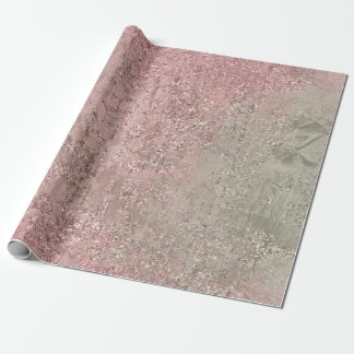 Pink Rose Blush Mint Green Gray Glass Crystal Wrapping Paper