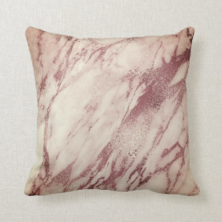Pink Rose Blush Powder Creamy Glam Marble Copper Throw Pillow