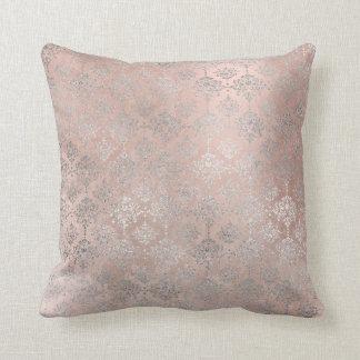Pink Rose Blush Powder Grungy Silver Grey Damask Throw Pillow