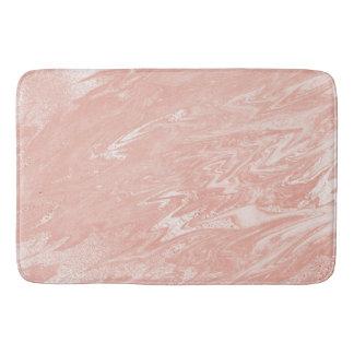 Pink Rose Blush Powder Marble Stone Metallic Bath Mat