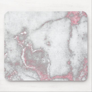 Pink Rose Blush White Gray Marble Stone Glam Mouse Pad