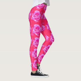 Pink Rose Bokeh, Sparkle Pink Ladies Leggings