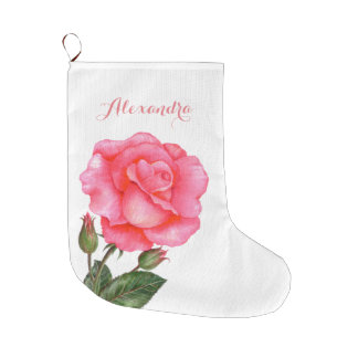 Pink Rose Botanical Illustration Large Christmas Stocking
