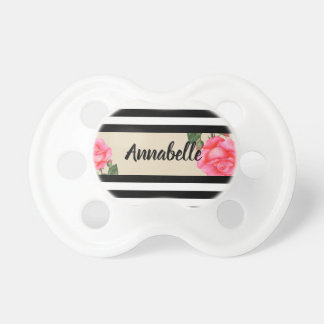 Pink Rose Botanical Illustration Pacifier