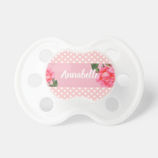 Pink Rose Botanical Illustration Polka Dot Pacifier