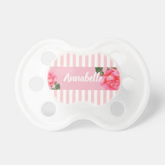 Pink Rose Botanical Illustration Stripes Pacifier