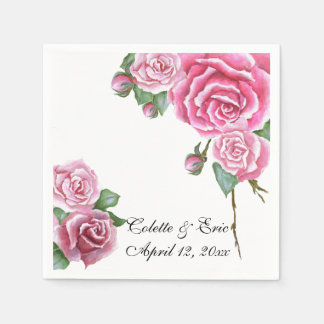 Pink Rose Bouquet Elegant Floral Wedding Napkins Paper Napkins