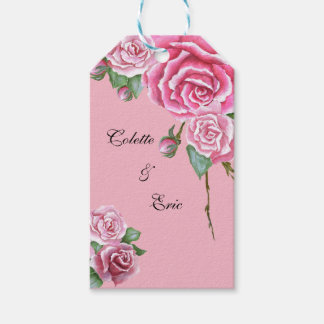 Pink Rose Bouquet Floral Wedding Gift Tags