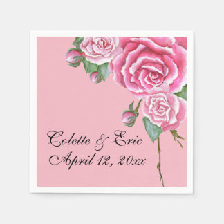 Pink Rose Bouquet Floral Wedding Paper Napkins