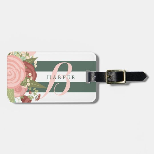 Pink Rose Bouquet & Green Stripes Custom Name Luggage Tag