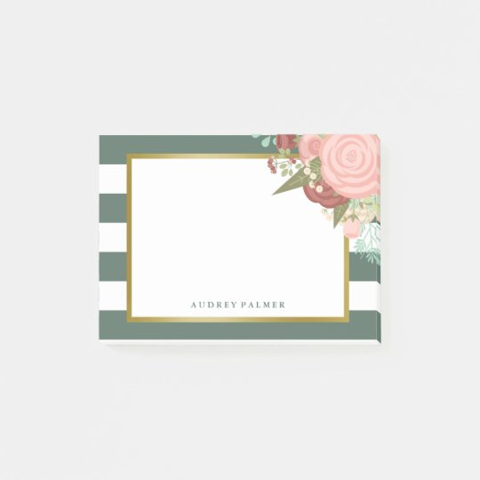 Pink Rose Bouquet & Green Stripes Custom Name Post-it Notes