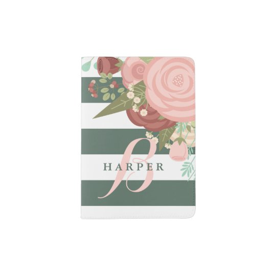Pink Rose Bouquet & Green Stripes Monogram Passport Holder