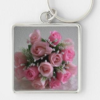 Pink Rose Bouquet Keychain