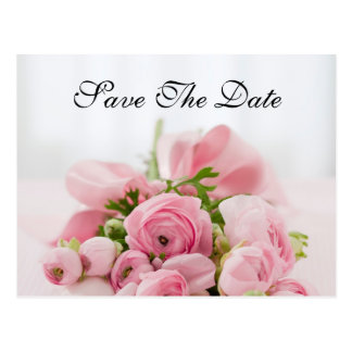 Pink Rose Bouquet Save The Date Wedding Card Postcard