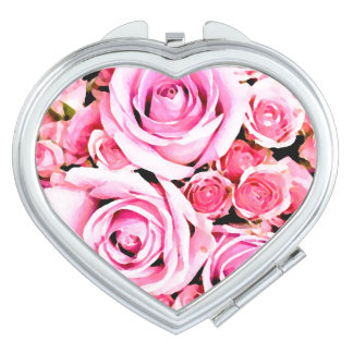 Pink rose bouquet vanity mirrors