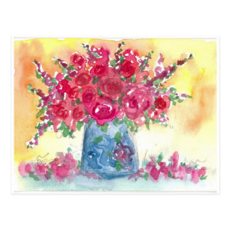 Pink Rose Bouquet Watercolor Painting Postcard