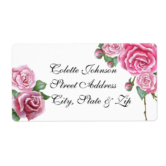 Pink Rose Bouquet Wedding Return Address Labels