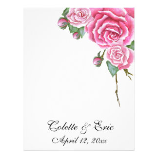 Pink Rose Bouquet Wedding Stationery Paper