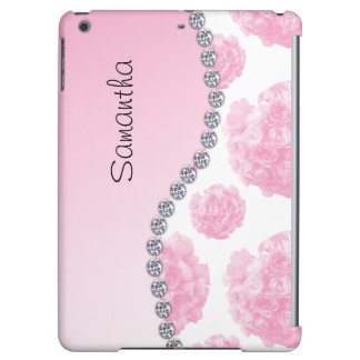 Pink Rose Bouquets and Diamonds Case For iPad Air