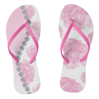 Pink Rose Bouquets and Diamonds Flip Flops