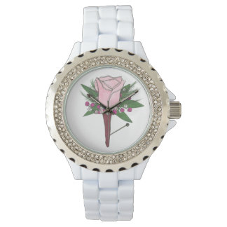 Pink Rose Boutonniere Floral Prom Wedding Watch