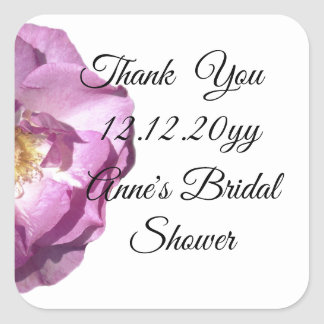 Pink Rose Bridal Shower Square Stickers