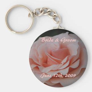 Pink Rose Bride & Groom Keychain