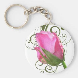 Pink Rose Bud Keychain