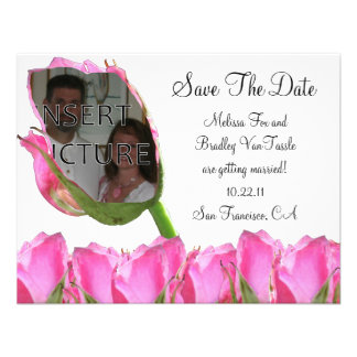 Pink Rose Bud Save The Date Card Invitations
