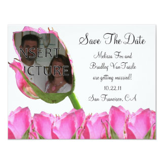 """Pink Rose Bud Save The Date Card 4.25"""" X 5.5"""" Invitation Card"""