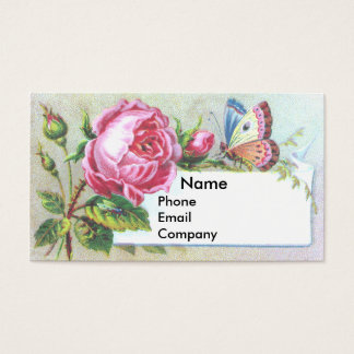 Pink Rose & Butterfly Victorian Trade Card
