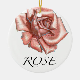 Pink Rose Ceramic Ornament
